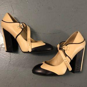 Chanel Runway Two Tone Black Beige Mary Jane Heels
